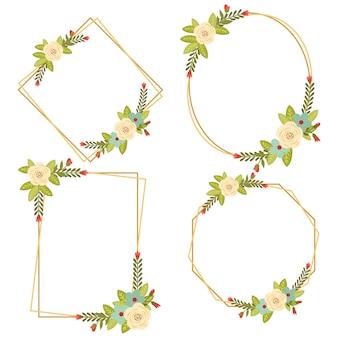 011-vintage ślubne geometryczne ramki kwiatowe kolekcje
