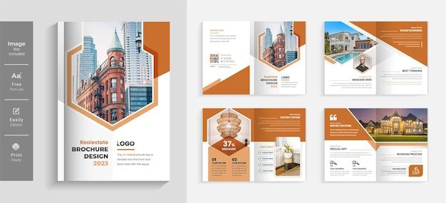 08 stron abstrakcyjnej broszury biznesowej dotyczącej nieruchomości zaprojektuj nowoczesny i kreatywny układ