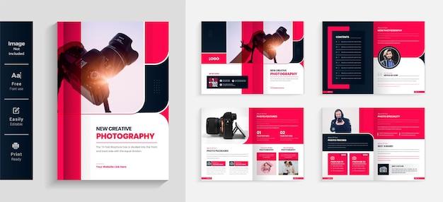 08 stron szablon projektu broszury fotograficznej kolorowy i nowoczesny układ