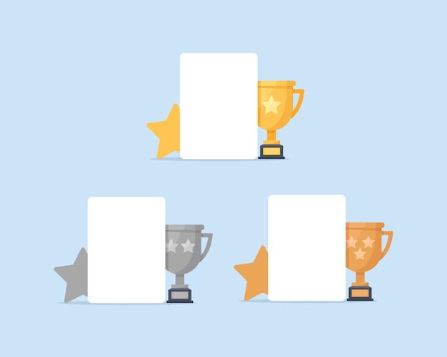 1., 2. i 3. miejsce. złoto, srebro, brąz, trofeum, ikona płaska konstrukcja