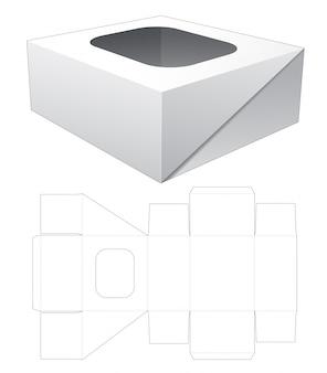 1-częściowe pudełko z klapką z szablonem wyciętym w górnym oknie