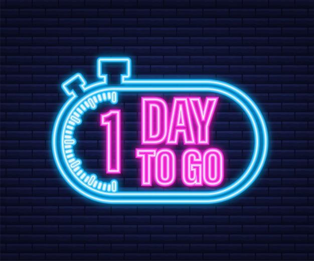 1 dzień do końca. ikona stylu neon. projekt typograficzny wektor. czas ilustracja wektorowa.