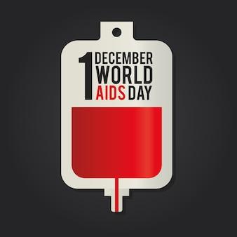 1 grudnia świat aids day napis na jednej ilustracji worka krwi