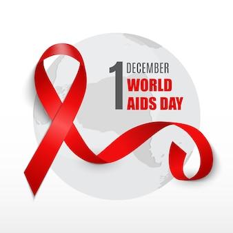 1 grudnia światowy dzień aids w tle. znak czerwonej wstążki. ilustracja wektorowa eps10