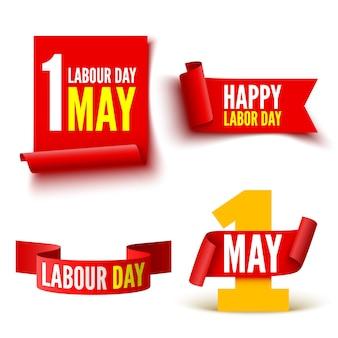 1 Maja Czerwone Transparenty Z Okazji święta Pracy. Zestaw Wstążek I Naklejek. Premium Wektorów