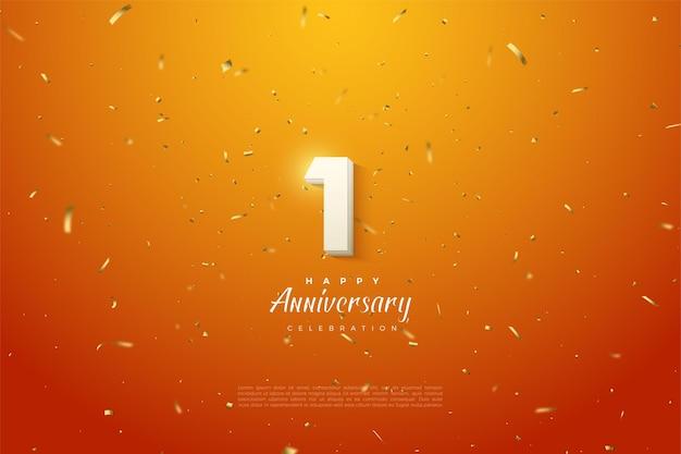 1. rocznica z białymi cyframi na pomarańczowym tle ze złotymi plamami.