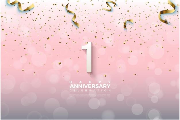 1. rocznica z ilustracją złotej wstążki wypadającej na liczby.