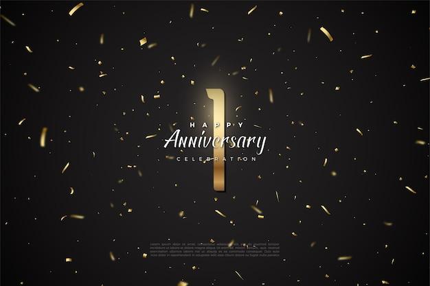 1. rocznica z ilustracją złotych cyfr na szczycie przestrzeni kosmicznej.