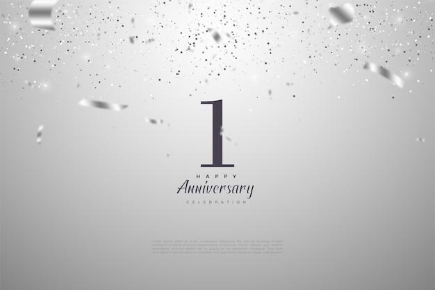 1. rocznica z opadającymi numerami i srebrnymi wstążkami.
