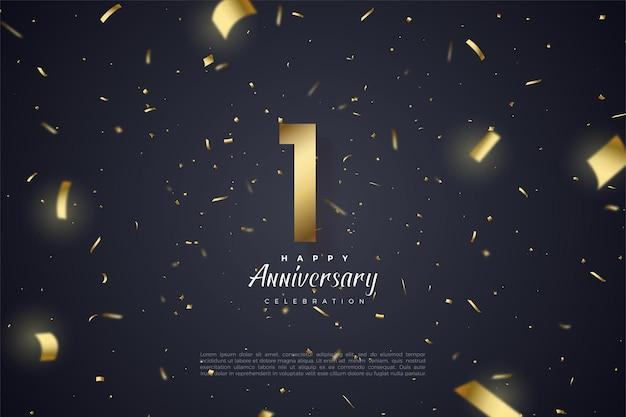 1. rocznica ze złotymi cyframi i złotymi wstążkami tworzącymi lekkie stopnie.