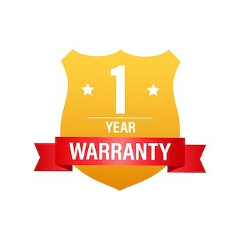 1 rok gwarancji. ikona usługi wsparcia. ilustracja wektorowa