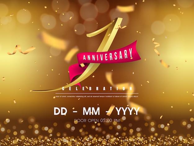 1 rok rocznica szablon na złotym tle.