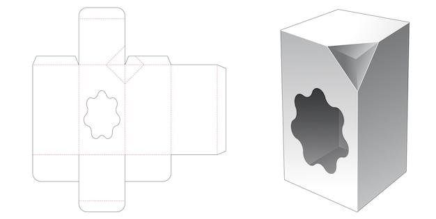 1 wysokie pudełko ze ściętymi rogami z szablonem wycinanym w oknie o dowolnym kształcie