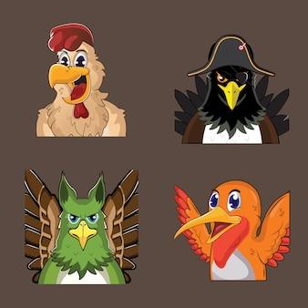 1 zestaw zwierzęcych awatarów z 4 motywami zwierzęcymi