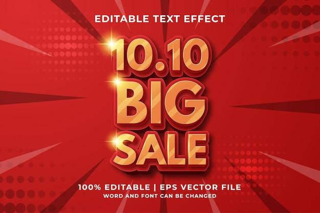 10.10 duża wyprzedaż edytowalny efekt tekstowy 3d premium wektor