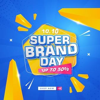 10 10 super brand day abstrakcyjny projekt tła i edytowalne efekty tekstowe