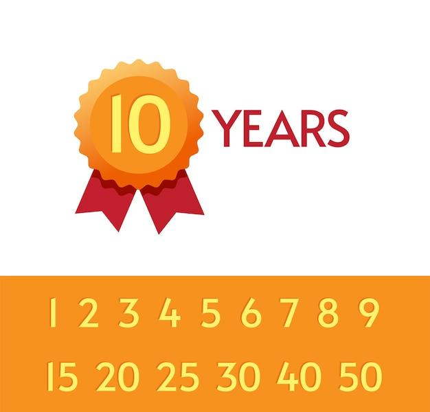 10, 15, 20 lat rocznica ikona tagi zestaw symboli