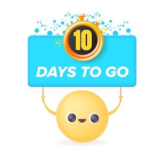 10 dni, aby przejść szablon projektu banera z uśmiechniętą buźką trzymającą odliczanie