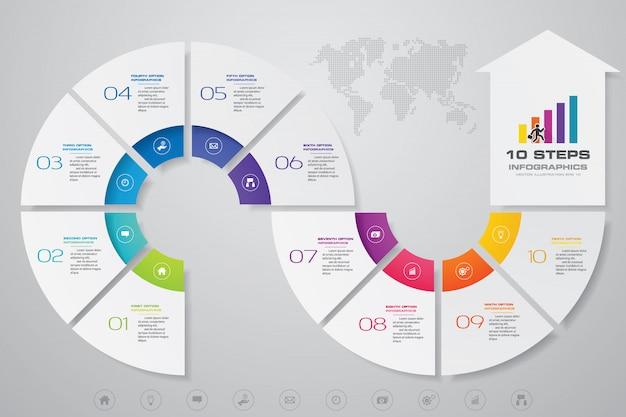 10 kroków infografika element strzałki szablon wykresu.