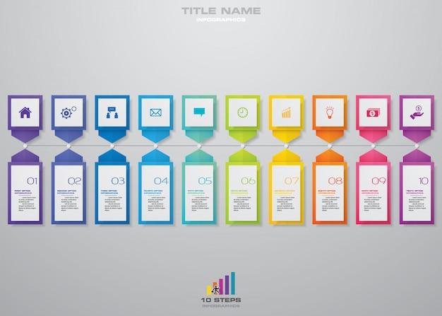10 kroków plansza element infographic.