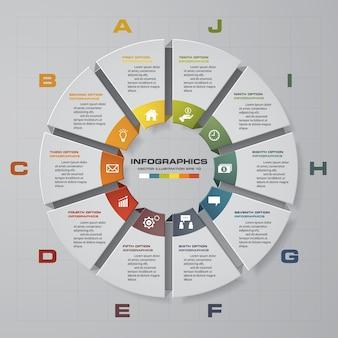 10 kroków procesu. prosty i edytowalny element abstrakcyjnego projektu. wektor.