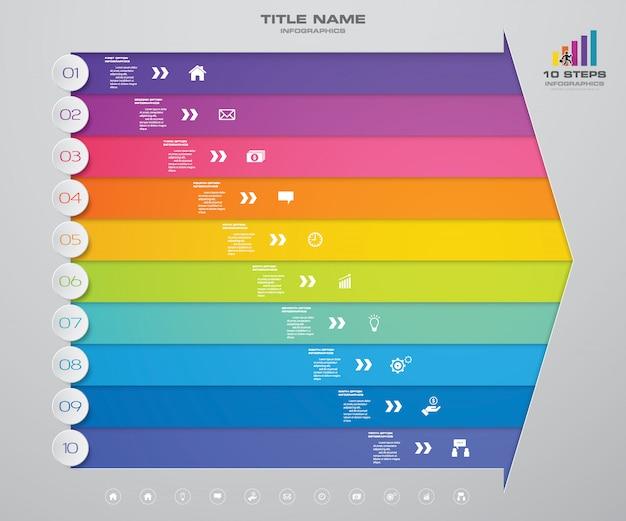 10 kroków strzałka wykresu elementów infografiki do prezentacji.