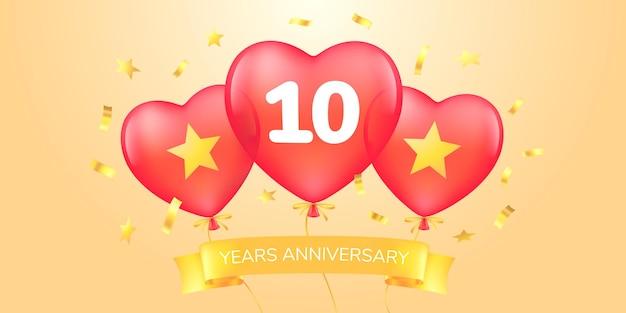10 lat rocznica ikona logo wektor szablon transparent z balonami na ogrzane powietrze na 10 rocznicę g