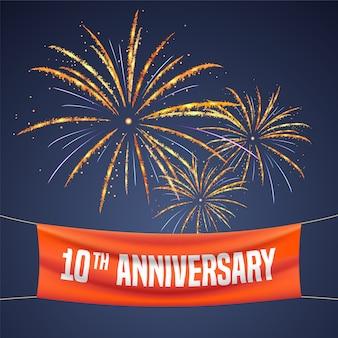 10 lat rocznica ilustracji wektorowych