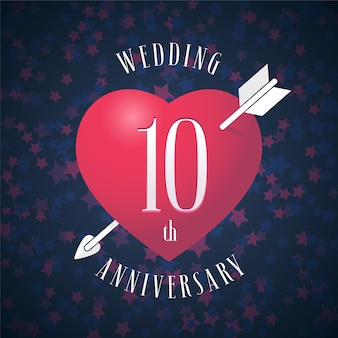 10 lat ślubu logo wektorowego