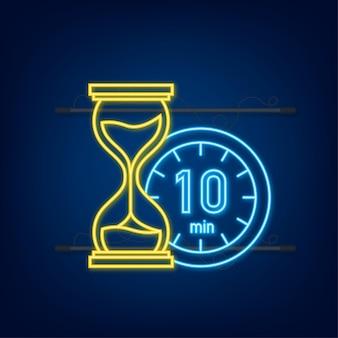 10 minut, ikona neon wektor stopera. ikona stopera w płaski, zegar na kolor tła. ilustracja wektorowa.