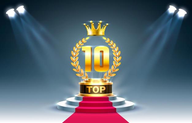 10 najlepszych znaków nagrody na podium, złoty przedmiot.