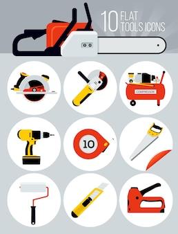 10 płaskich ikon narzędzi