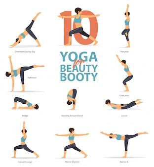 10 pozycji jogi na łup piękna.