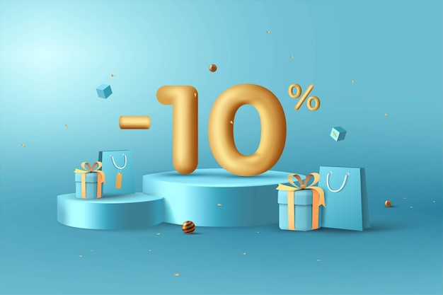 10 procent zniżki na numery 3d gold rabat na podium z torbą na zakupy i pudełkiem na prezent