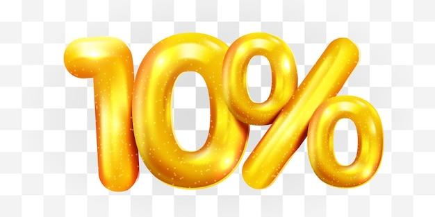 10 procent zniżki na złoty balon mega symbol sprzedaży