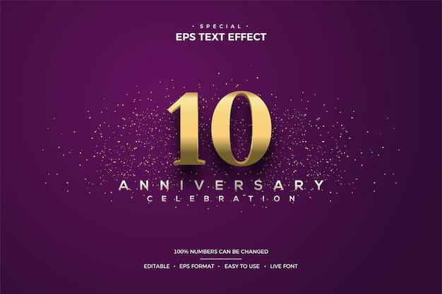 10. rocznica efektu tekstowego ze złotymi numerami i złotymi plamami