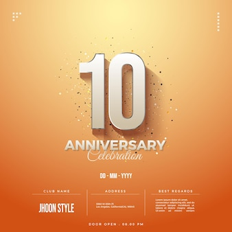 10. rocznica z zacienionymi numerami