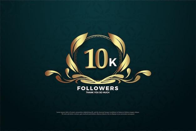 10 tys. obserwujących lub subskrybentów ze złotymi numerami i złotymi liśćmi.