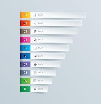 10 wykresów danych infografiki zakładka szablon indeksu papieru.