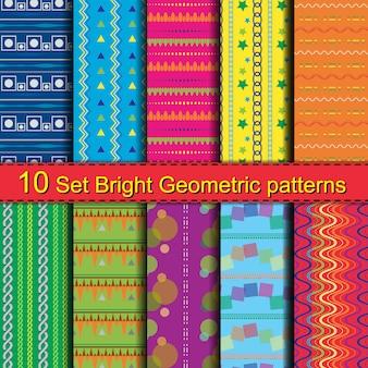 10 zestawów jasnych wzorów geometrycznych