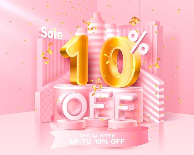 10% zniżki. rabatowa kompozycja kreatywna. 3d symbol sprzedaży z przedmiotami dekoracyjnymi, złotym konfetti, podium i pudełkiem. sprzedam baner i plakat. ilustracja wektorowa.