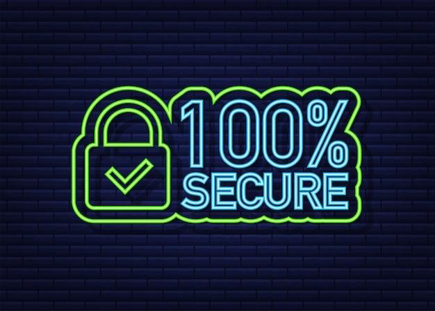 100 bezpieczne ikona neon wektor grunge. plakietka lub przycisk do witryny handlowej. czas ilustracja wektorowa.