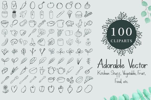 100 clipartów akwarela