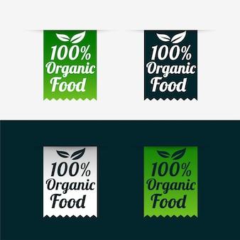 100% etykiety żywności ekologicznej w stylu wstążki