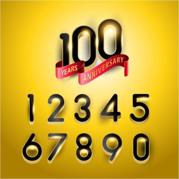 100-lecie złotego logo rocznicy z czerwoną wstążką.