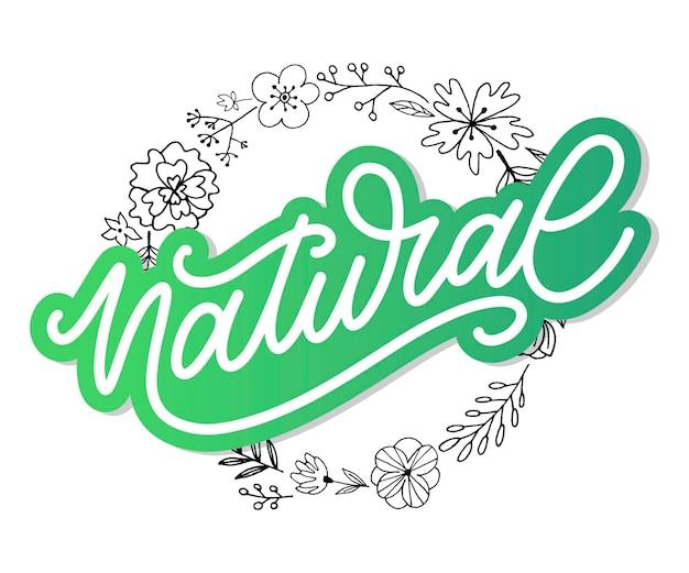 100 naturalny wektor napis pieczęć ilustracja slogan kaligrafia