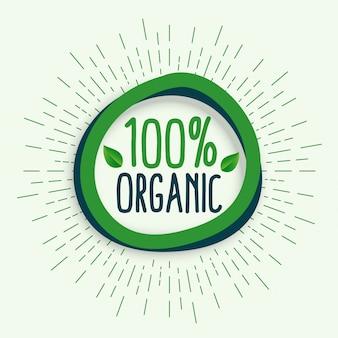 100% organiczny. symbol świeżej zdrowej naturalnej żywności ekologicznej
