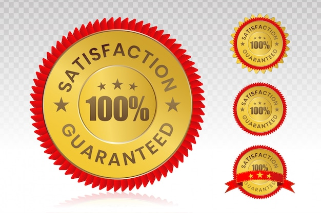 100-procentowa pieczęć zadowolenia klienta z przezroczystym tłem.