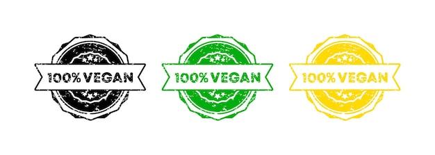 100-procentowy znaczek wegański. wektor. ikona odznaka 100 procent wegańskie. certyfikowane logo odznaki. szablon pieczęci. etykieta, naklejka, ikony. wektor eps 10. na białym tle.