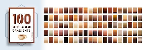 100 zestaw tła gradientów kawy i kakao